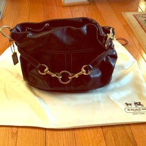 Like new Coach black leather shoulder bag